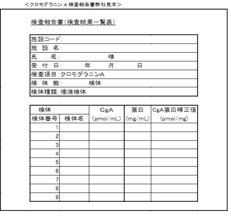 <クロモグラニンA検査報告書弊社見本>